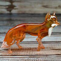 "Glass Fox Countryside Figurine, Handmade Hand Blown Art Glass Wild Figure 3.75"""