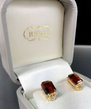 H.Stern 18K Yellow Gold Madeira Orange Citrine Diamond Vintage Clip-On Earrings