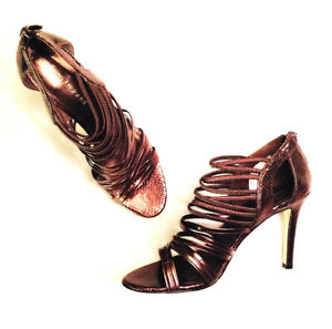 Womens - ENZO ANGIOLINI - Bronze Python Embossed Strappy Leather Heels Pumps 7.5