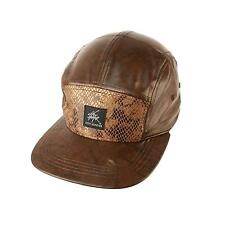 Faux Leather & Snake Skin 5 Panel Snapback Biker Cadet Cap Hat Adjustable Brown