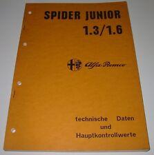 Werkstatthandbuch Alfa Romeo Spider 1300 Junior 1.3 1.6 Prüfwerte Daten 07/1968