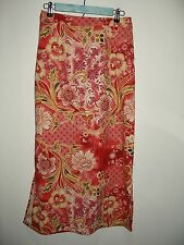 NWT Islander Women's Size 8 (29-33x36.5) Coral Floral Skirt Faux Suede 30-10151