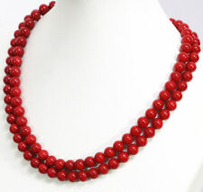 "New Long 24"" 8mm Japan South Sea Red Coral Round Beads Necklace 14K AAA+"