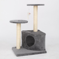 "28"" Cat Tree Tower Condo Sisal Post Scratching Gray"
