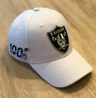 OAKLAND RAIDERS NFL 100 Seasons Patch Style Cap Hat 2019 Patch 100th WHITE Logo