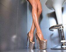 METALLIC Damenschuhe Club-Party Pumps Plateau XXXL GOGO High Heels 36/41