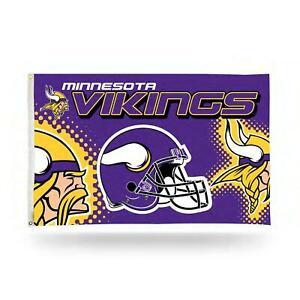 Minnesota Vikings NFL Helmet Design 3x5 Banner Flag with grommets for hanging