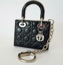 Authentic ✿Christian Dior✿ Lady handbag Charm Keychain RARE Black Quilted Heavy