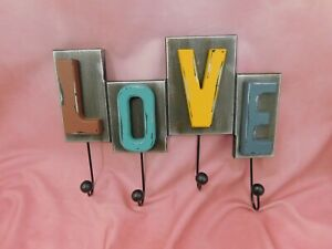 Rustic Finish LOVE Hook Clothes Coat Key Holder Hat Hanger Rack Wall Mounted