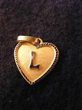 Pendentif Coeur Médaillon en Or Plaqué Lettre L 1,5 cm