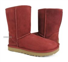 UGG Classic Short II Spice Red Suede Fur Boots Womens Size 11 *NIB*