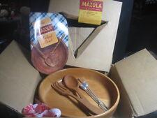 "NIB Vintage Mazola Wooden 11"" Footed Salad Bowl w/Cookbook and Serving Utensils"