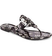 e79068c29d6d5 NIB Tory Burch MILLER PATENT LEATHER BLACK STAMPED FLORAL Sandals Shoes 9 M