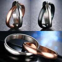 2mm Stainless Steel Silver Black Rose Gold Ring - Mens & Womens Wedding Band J-Z