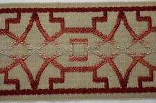 "3.5"" Wide Red Tan Decorative Banding Irwell Deep Coral Fabricut Trim"