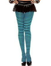 BLACK AND TURQUOISE AQUA BLUE STRIPE TIGHTS One Size COSTUME FANCY DRESS