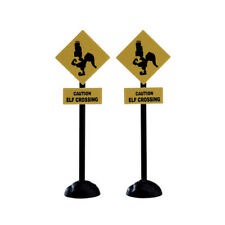 New Lemax Figurines Elf Crossing Sign Set of 2 # 74238 Polyresin 2017