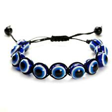 EVIL EYE BEAD BRACELET 12mm Blue Good Luck Protection Adjustable Shamballa Style