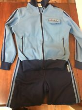VINTAGE AUTHENTIC ADIDAS SINGLET & HOODED JACKET Tracksuit 70s-80s Size 40 Blue