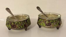 2 old mini bowls Russian Enamel open salt cellar Bowls with spoons