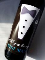 WILL YOU BE MY BEST MAN WINE WEDDING DAY BOTTLE LABEL GIFT