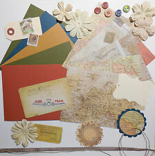 """Card Making Kit Paper Pack + Embellishments """"Geography"""" Great 4 Masculine Cards"""