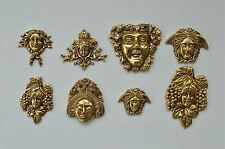 Set of 8 antique style solid brass furniture mounts ormalu plaques