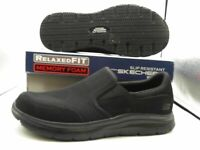 Sketchers 77048/BBK Slip On Black WorkShoes Men's Sporty Mesh (Preowned)