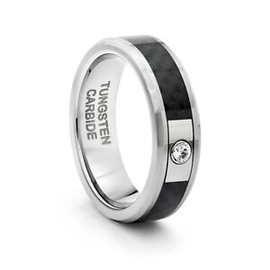 TungstenMasters 8MM/6MM Tungsten Black Carbon Fiber Wedding Band Ring w/ CZ