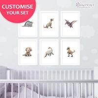 Dinosaur Nursery Print Set of 6 | Childrens Wall Art | Frame not included