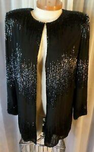 Vintage Lady M Black Silk Jacket Top Woman Medium Bead Sequin Blouse J Kara Even