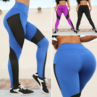 Womens Yoga Pants Fitness Leggings Running Gym Exercise Sports Trousers US X149