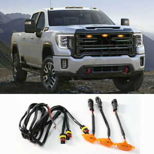 For GMC Sierra 2500 HD 2019-2021 Front Grille LED Light Raptor Style Grill Cover