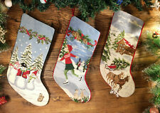 Pretty Needlepoint Christmas Stocking Lovely Snowmen Kid Sleigh