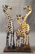 Genuine Bone Giraffe Family Figurine Hand Carved Statue