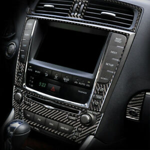For LEXUS IS250 300 350 2006-12 Console Carbon Fiber CD Panel Sticker Trim Cover