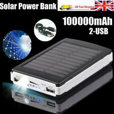 Solar Power Bank 100000mah HUGE Capacity 2usb Battery Charger for iPhone Samsung