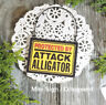 DECO Mini Fun Sign Gag Protected by Attack ALLIGATOR Wood Ornament Door Hanger