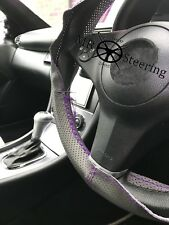 FOR FORD FIESTA 02+GREY PERFORATED LEATHER STEERING WHEEL COVER PURPLE DOUBLE ST