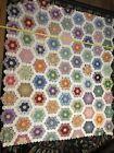 Vintage+Handmade%2C+Hand-Stitched+Grandmother%27s+Flower+Garden+Quilt+Top%2C+78+x+70%E2%80%9D%21