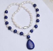 7-8MM White Akoya Pearl / Lapis Lazuli Gemstone Pendant Necklace 18'' AAA