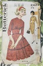 VTG  60s Butterick Sewing Pattern Wide Midriff Dress Size 14 Bust 34 Hip 36
