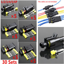 30 Sets 1/2/3/4/5/6 P Way Sealed Waterproof Car Electrical Wire Connection Plug