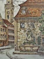 Sieglinde Meythaler (1944) Farb-Lithographie: FÜRTH, DER JUGENDBRUNNEN