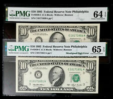 (2) Consec $10 Federal Reserve Note Misaligned Digit Error &Bookend-Pmg Gem-Ch.