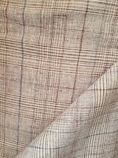 100% linen  fawn beige check width 150CM x  metre