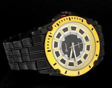 Black Yellow Casual Wear Geneva Hip Bling Fashion Mens Wrist Quartz Watch