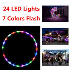24 Lights 90cm Colorful Light Flash LED Hula Hoop Abdominal Fitness Increased
