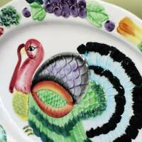 Turkey Platter Oval Serving Tray Ceramic Colorful Vintage Find XL 18 inch