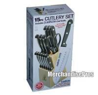 "15 PC CUTLERY KNIFE SET INCLUDES 7"" SANTOKU KNIFE & SIX STEAK KNIVES  NEW!"